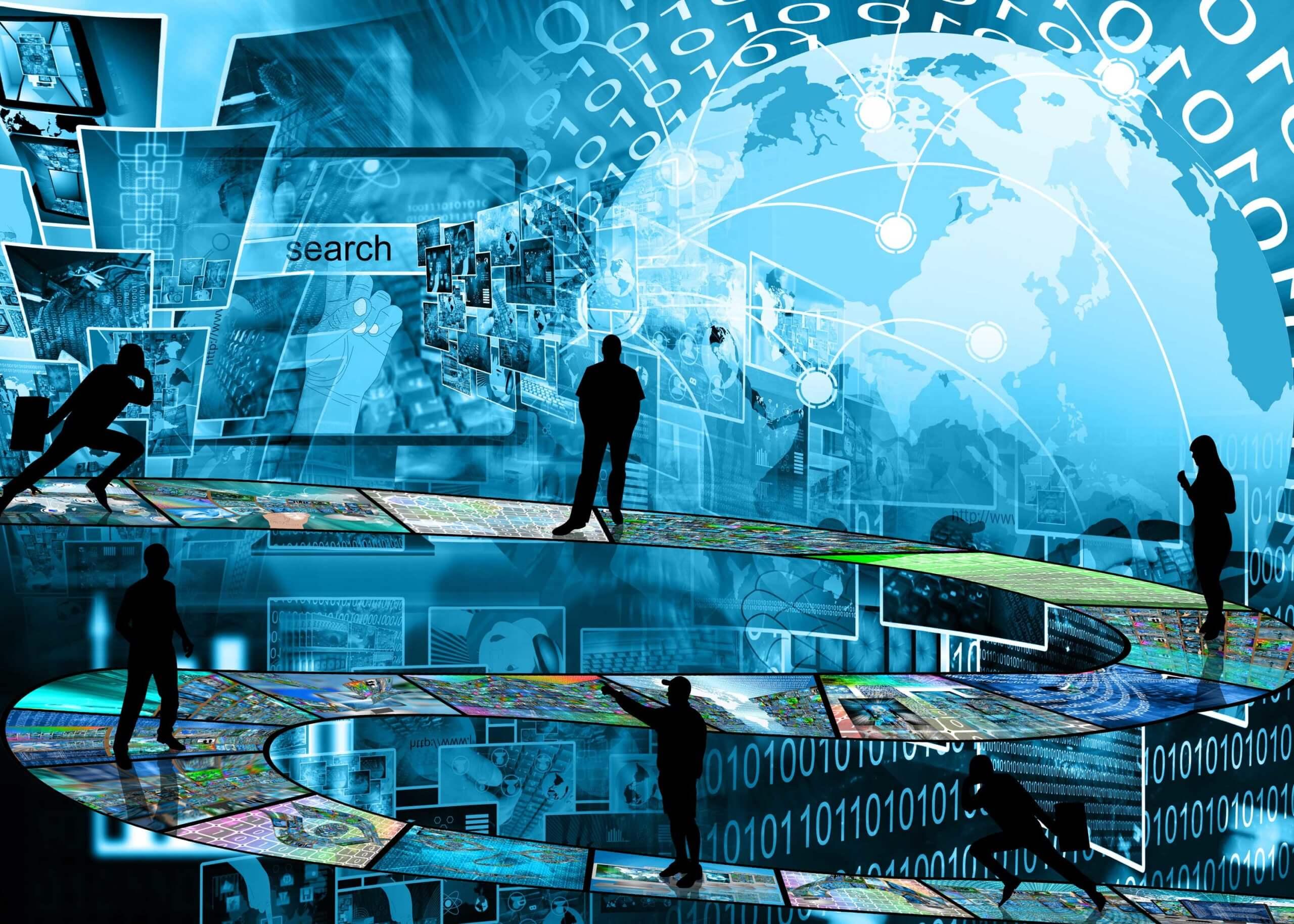 Mehrere menschliche Figuren auf einem Gateway nach oben mit futuristischem Hintergund