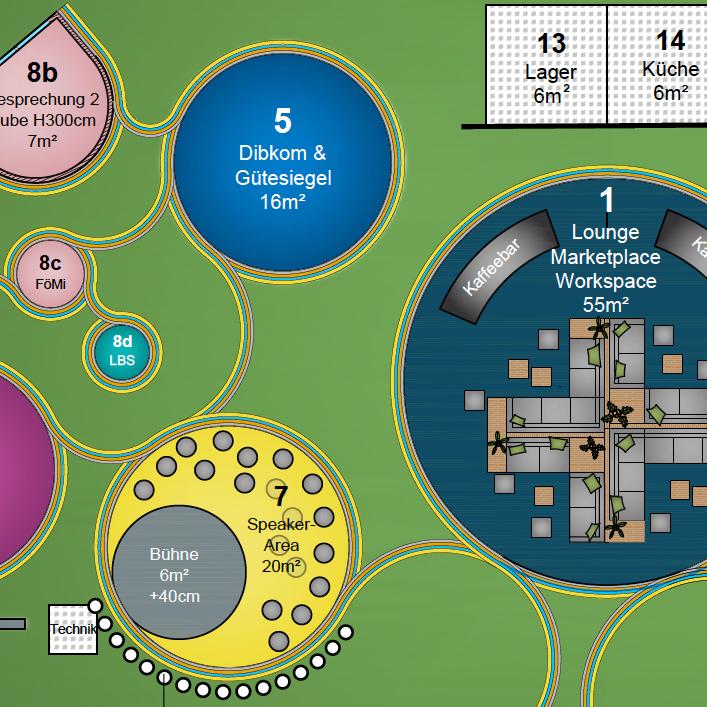 Graphik eines Entwurfs für den Boden eines Messestandes mit Draufsicht von oben
